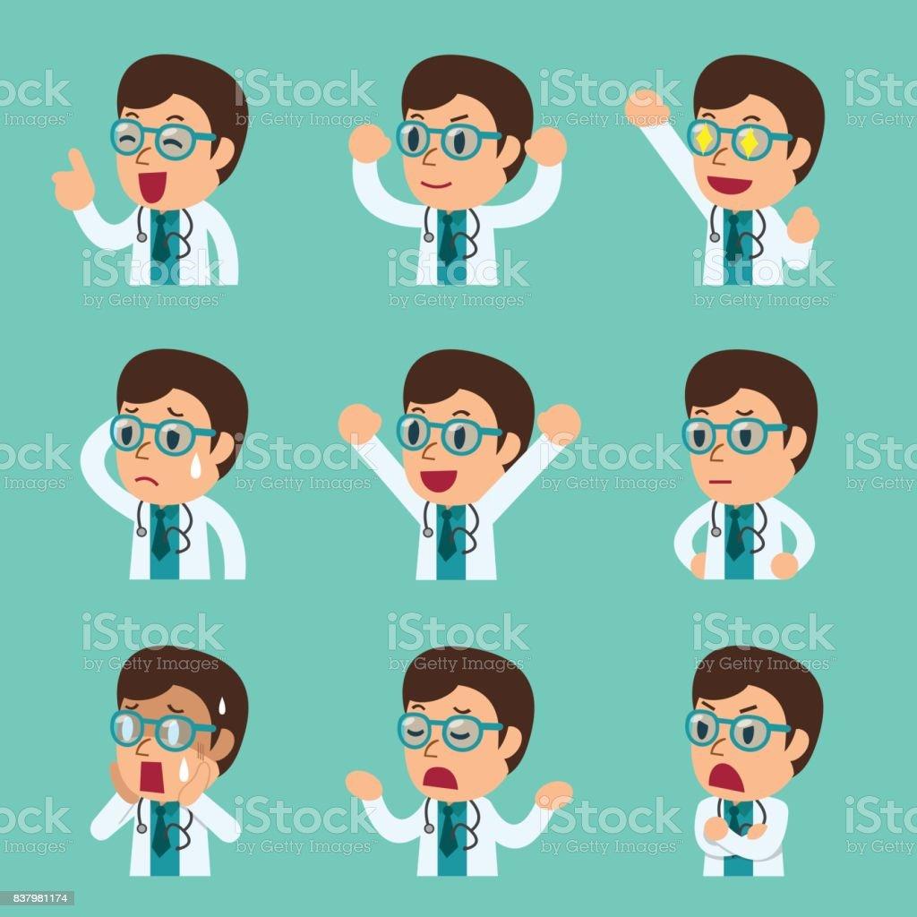 Vetores De Desenho De Rostos Masculinos Medico Mostrando