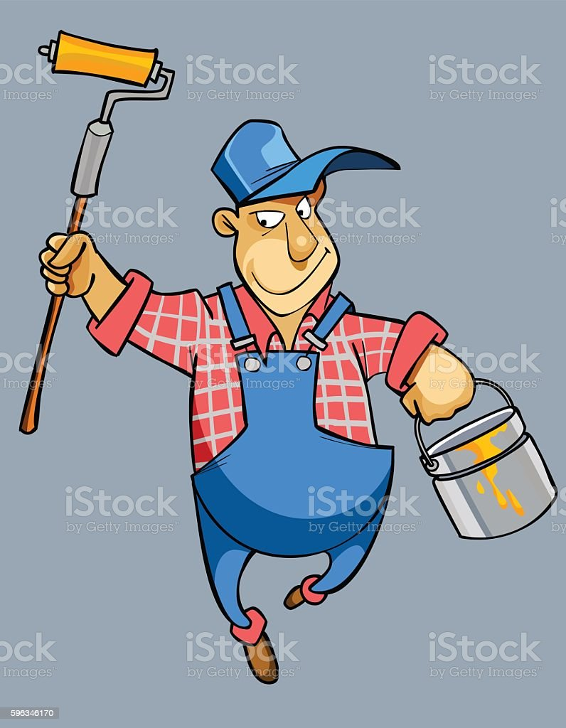 cartoon male house painter worker in uniform royalty-free cartoon male house painter worker in uniform stock vector art & more images of bib overalls