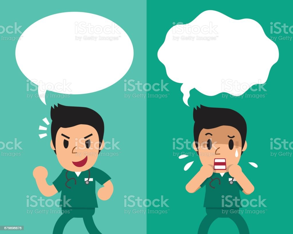cartoon-male-nurse-expressing-different-emotions-with-speech-bubbles-vector-id679896876