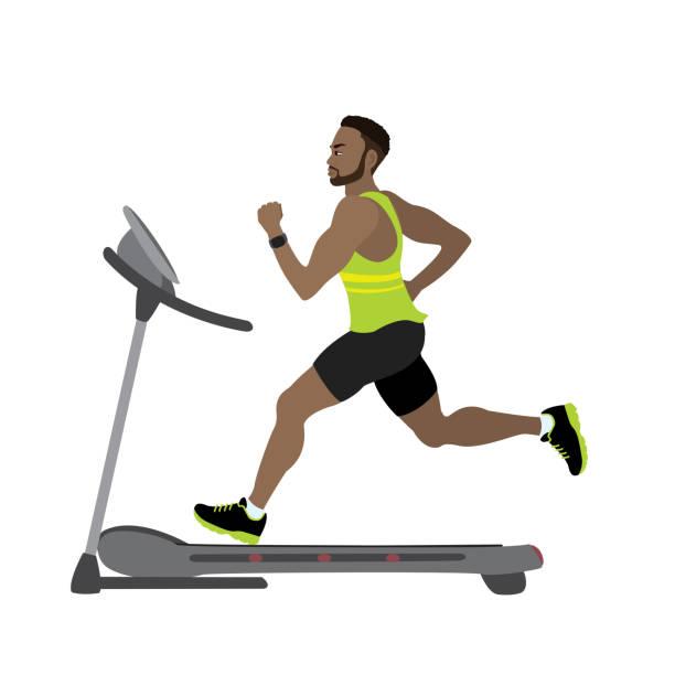 ilustraciones, imágenes clip art, dibujos animados e iconos de stock de corredor masculino dibujos animados en un concepto de la cinta de correr, gimnasio y footing - geriatría