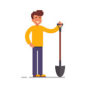 Cartoon Male vector character with a garden tool.