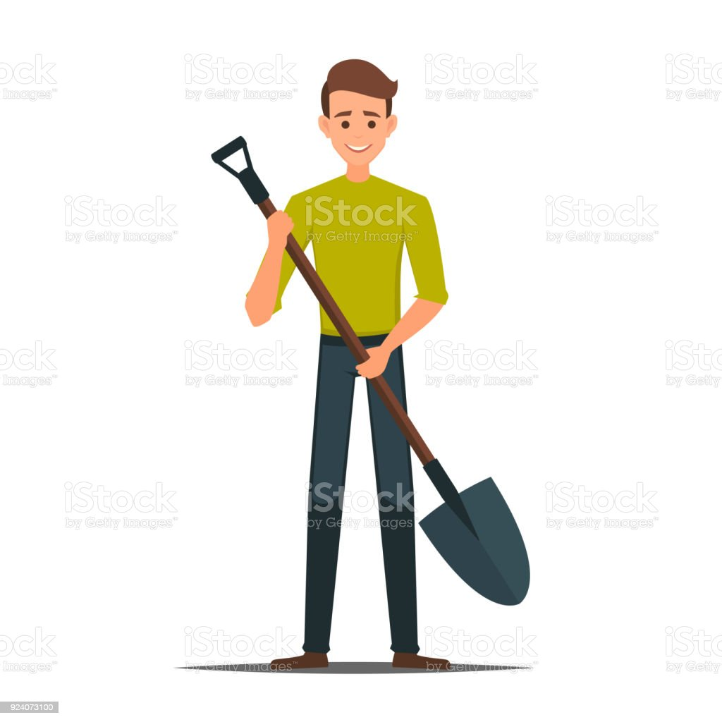 Cartoon Male Vector Character With A Shovel Stock Illustration - Download  Image Now