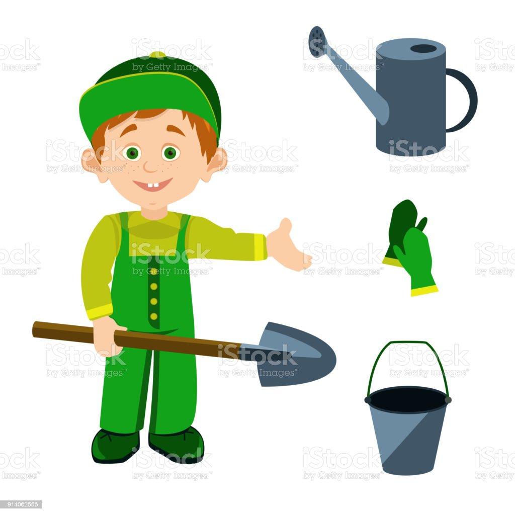 Personaje masculino vector de dibujos animados con herramientas de jardinería - ilustración de arte vectorial