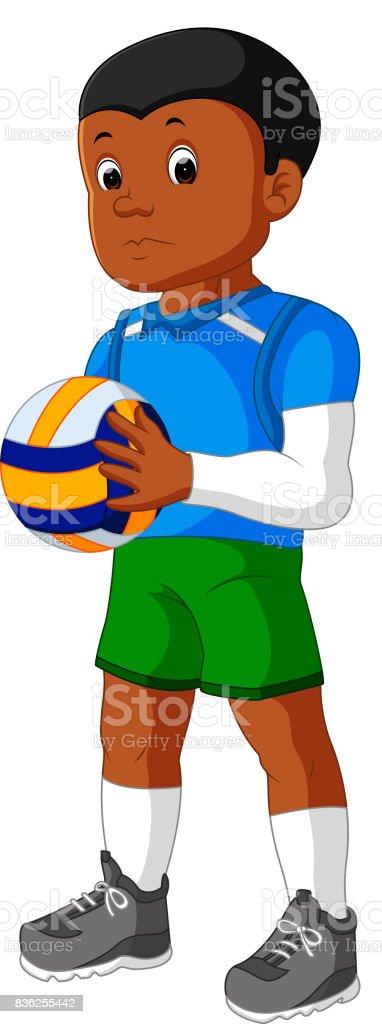 Cartoon male Volleyball Player vector art illustration