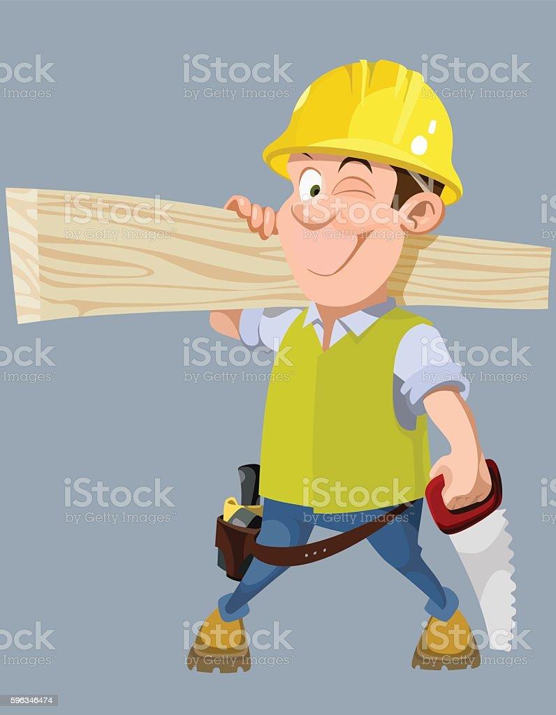 cartoon male worker in a helmet with a hacksaw and board Lizenzfreies cartoon male worker in a helmet with a hacksaw and board stock vektor art und mehr bilder von arbeiter