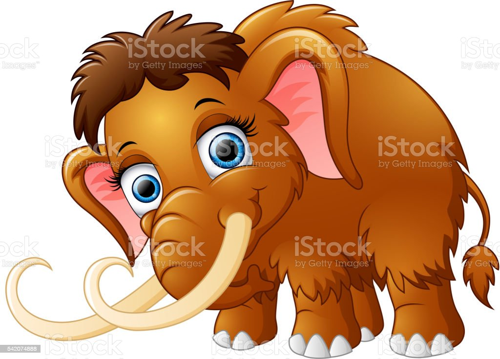 Cartoon mammoth isolated on white background vector art illustration