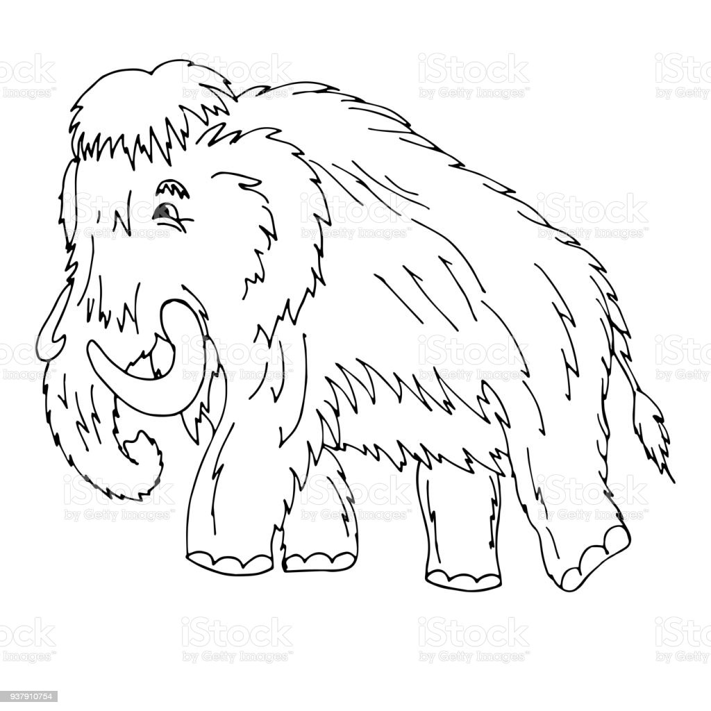 Cartoon Mammoth Standing On Ice Age Vector Illustration Isolat Stock ...