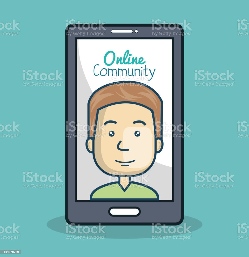 cartoon man and smartphone online community royalty-free cartoon man and smartphone online community stock vector art & more images of adult