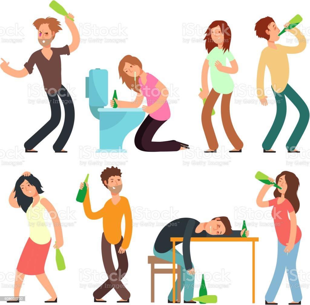 Cartoon man and woman alcoholic. People drunkard in bad situation vector set