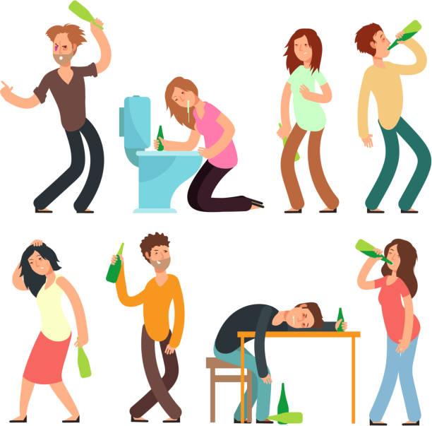 bildbanksillustrationer, clip art samt tecknat material och ikoner med tecknade man och kvinna alkoholhaltiga. personer drinkare i dålig situation vektor set - plakat