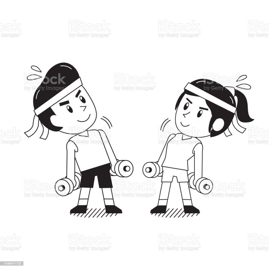 Vetores De Desenho De Homem E Mulher Fazendo Exercicio De Halteres