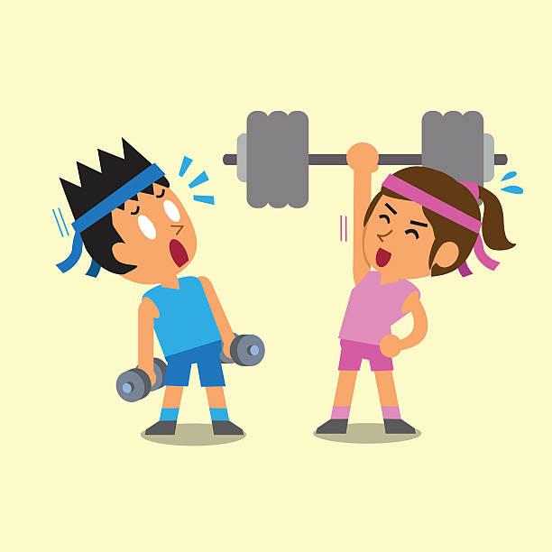 Hombre de historieta y mujer haciendo de entrenamiento con pesas - ilustración de arte vectorial