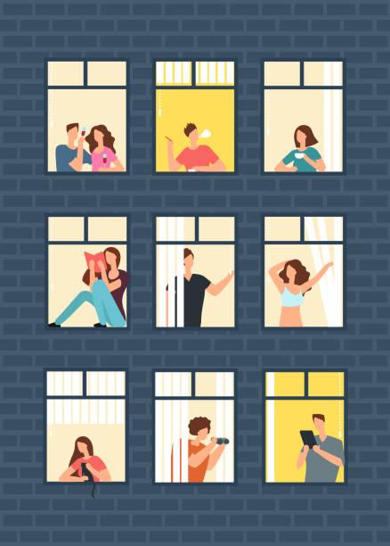 illustrazioni stock, clip art, cartoni animati e icone di tendenza di cartoon man and woman neighbors in apartment windows in building. happy neighborhood vector flat concept - appartamento