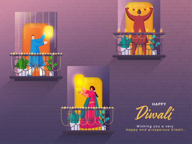 Cartoon Man And Woman Standing On Their Decorative Balcony For Happy Diwali Celebration. vector art illustration