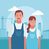 cartoon man and woman standing over urban city buildings background, colorful design ,  vector illustration