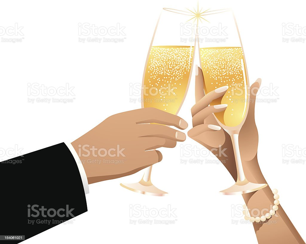 Cartoon man and woman toasting with champagne royalty-free stock vector art