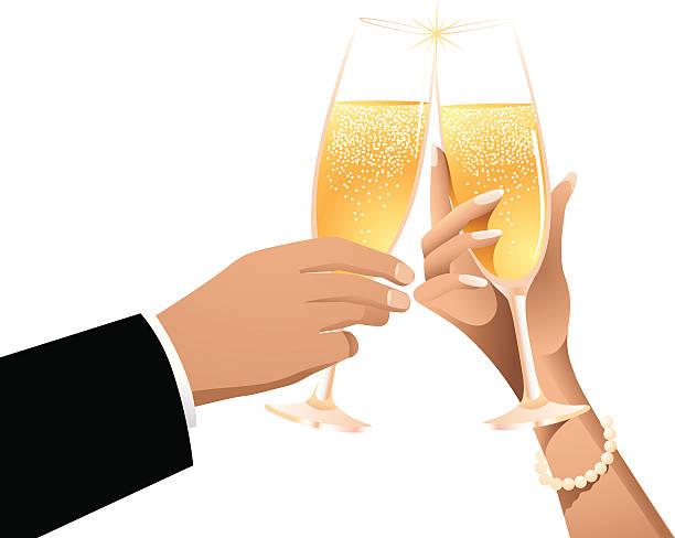 champagner-toast - paararmbänder stock-grafiken, -clipart, -cartoons und -symbole