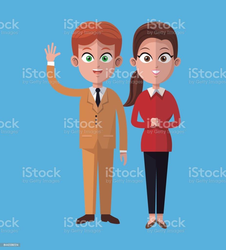 Ilustración De Dibujos Animados Hombre Y Mujer Juntos