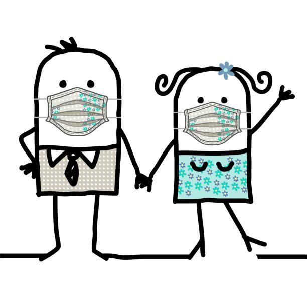 illustrations, cliparts, dessins animés et icônes de homme et femme de dessin animé utilisant des masques à la main de protection de protection - covid france