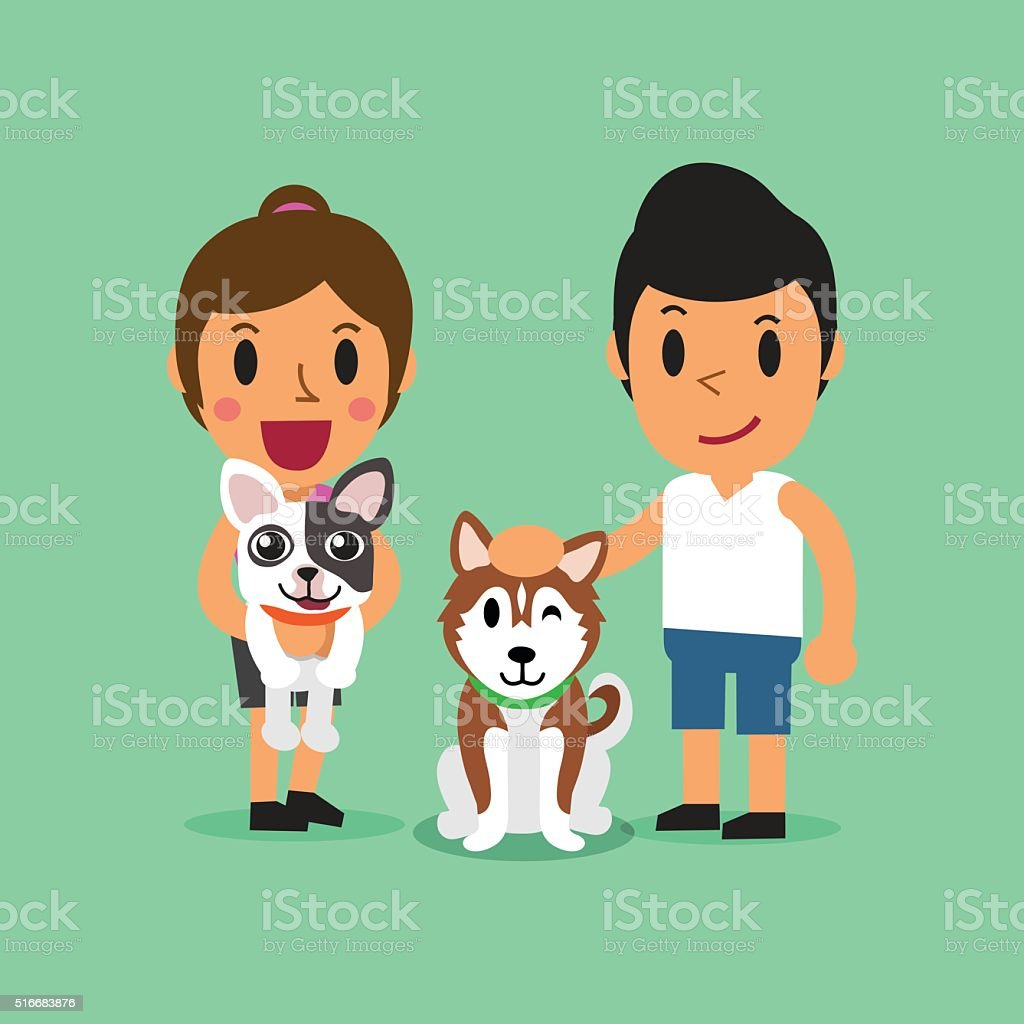 Cartoon man and woman with dogs vector art illustration