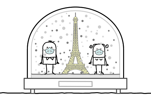 Cartoon Man and Woman with protection Masks, Contained in a Snow-Dome, with the Eiffel Tower