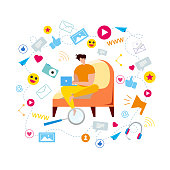 Cartoon Man in Armchair Type in Notebook Browse Social Media Vector Illustration. Internet Communication, Modern Technology, Network Blog Content, Share Post Online, Business Service Marketing