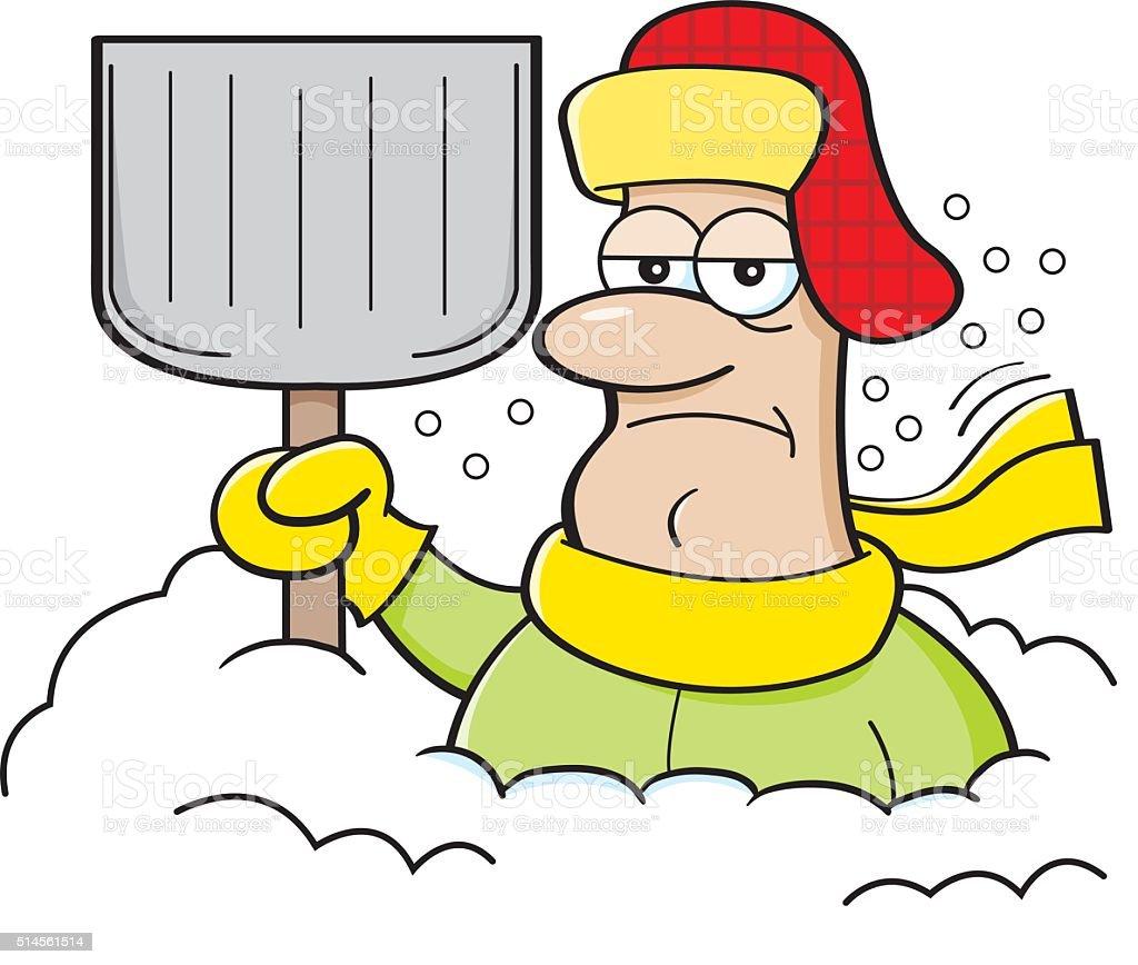 Cartoon man buried in snow. vector art illustration
