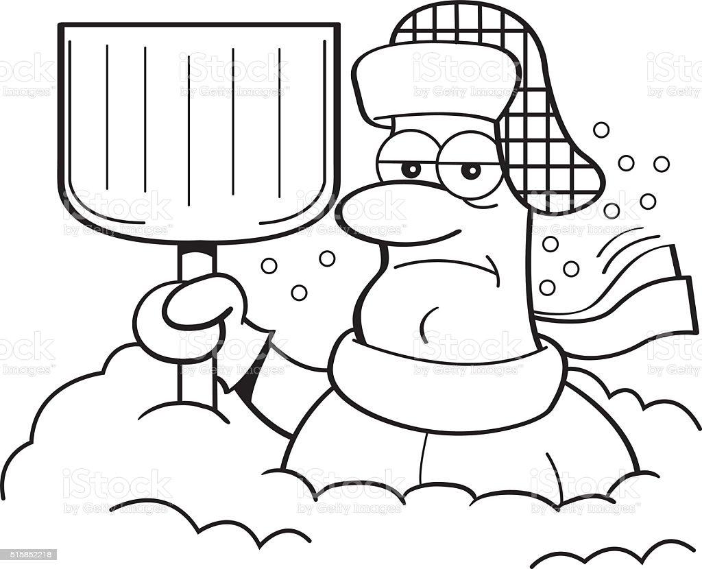 man buried in snow cartoon
