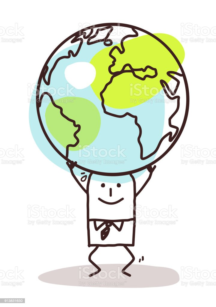 cartoon man carrying the earth on his head stock vector art more