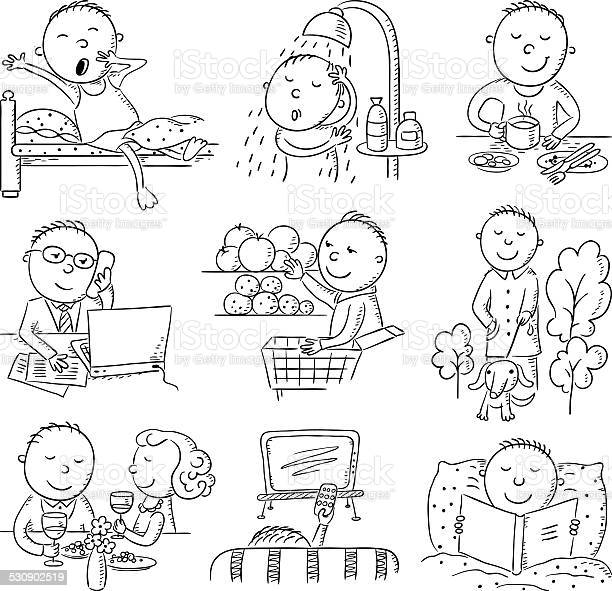 Cartoon man daily activities vector id530902519?b=1&k=6&m=530902519&s=612x612&h=xwpakt1ab9gnqpbwsex7abdeb2edj pt z fadqdcps=