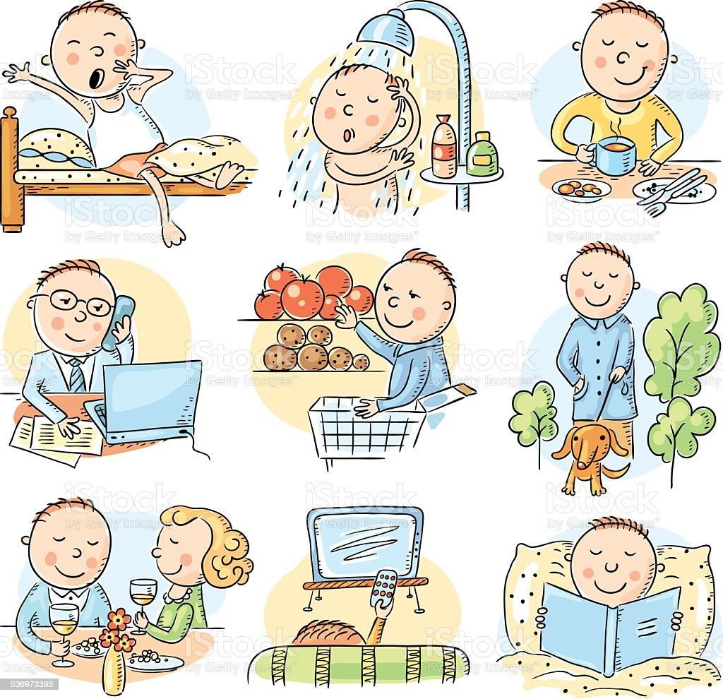 Cartoon man daily activities vector art illustration