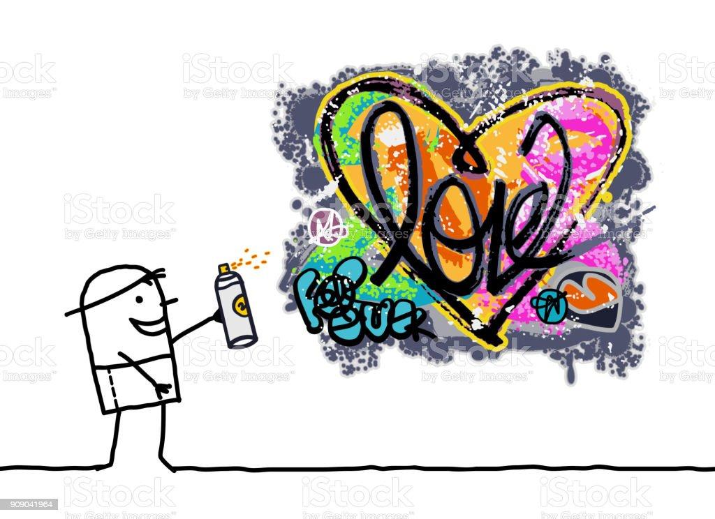 Ilustración De Dibujos Animados Hombre Diseñando Un Corazón De
