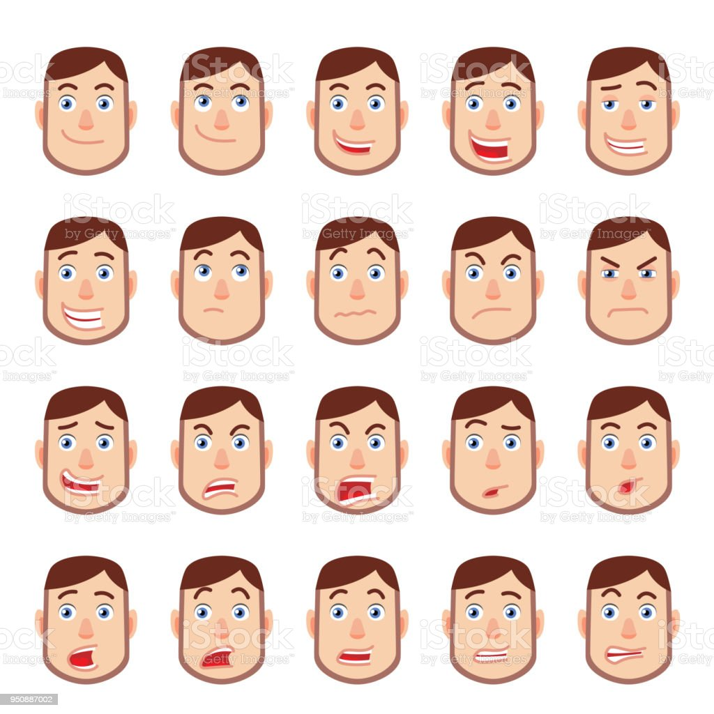 Cartoon Man Different Facial Expressions Stock Illustration Download Image Now Istock