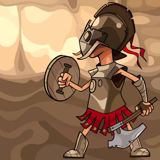 illustrations, cliparts, dessins animés et icônes de dessin animé homme habillé comme un guerrier médiéval avec une hache et d'un bouclier - man axe wood