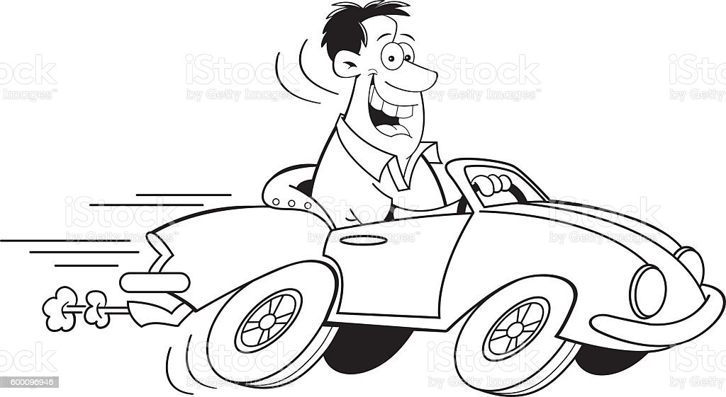 Cartoon Man Driving A Car Stock Illustration - Download ...