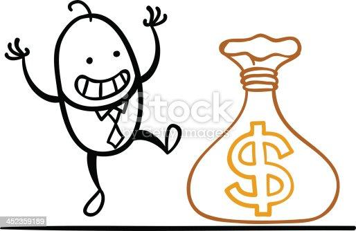 Cartoon man earns money