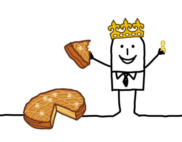 illustrations, cliparts, dessins animés et icônes de dessin animé homme manger un morceau de gâteau de l'épiphanie - galette des rois
