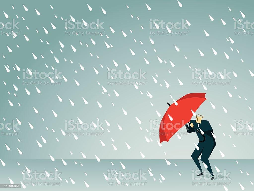 Cartoon man holding a red umbrella in a rain storm vector art illustration