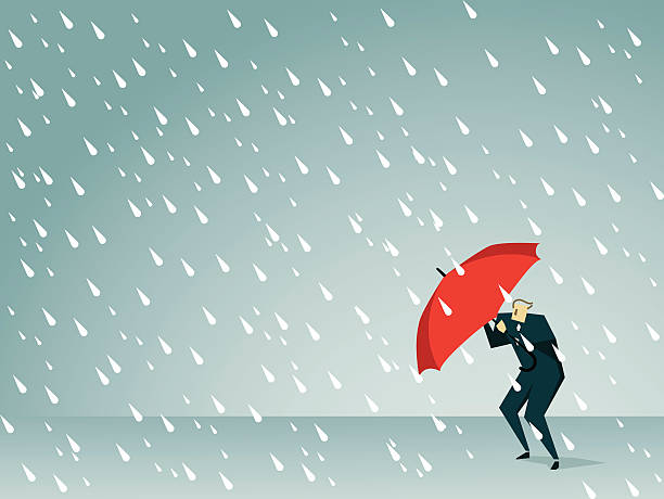 Cartoon man holding a red umbrella in a rain storm Illustration and Painting sheltering stock illustrations
