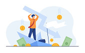 Cartoon man holding arrow falling down isolated flat vector illustration. Tiny businessman during business failure and company problem. Bankruptcy and financial crisis concept