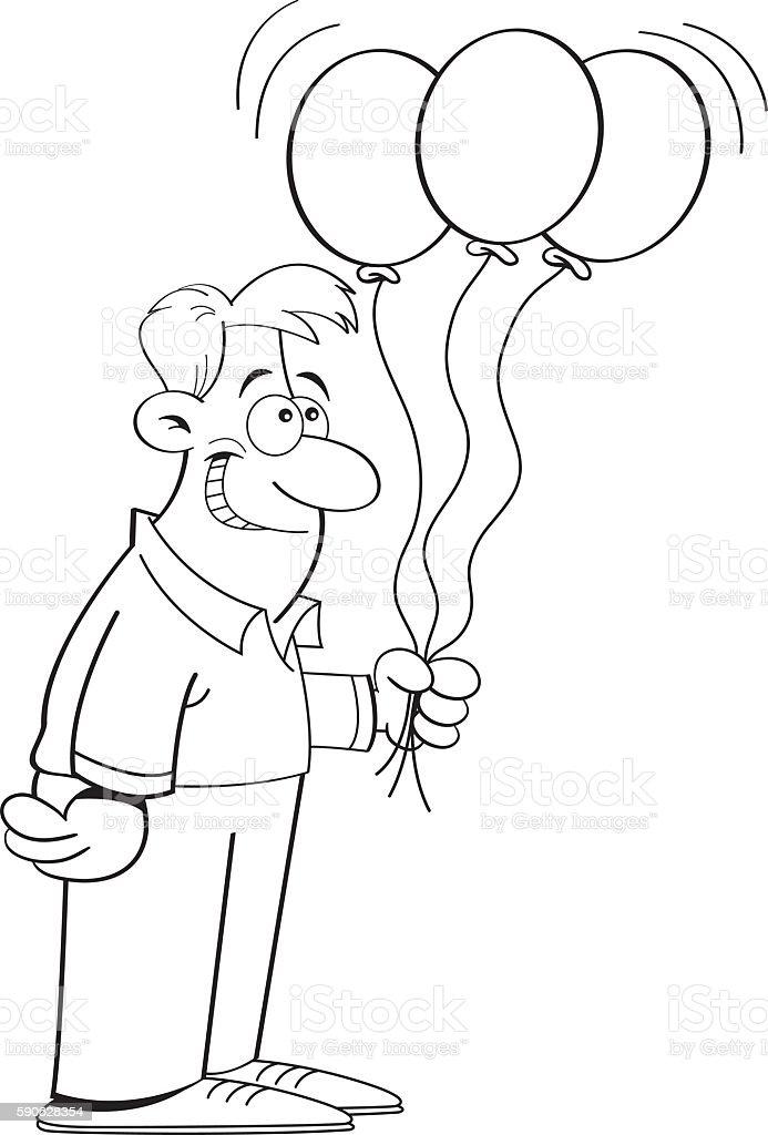 Cartoon Man Holding Balloons Stock Illustration - Download Image Now