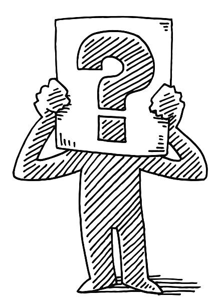 Cartoon Man Holding Sign Question Mark Drawing Hand-drawn vector drawing of a Cartoon Man Holding a Sign with a Question Mark. Black-and-White sketch on a transparent background (.eps-file). Included files are EPS (v10) and Hi-Res JPG. cartoon character figure stock illustrations