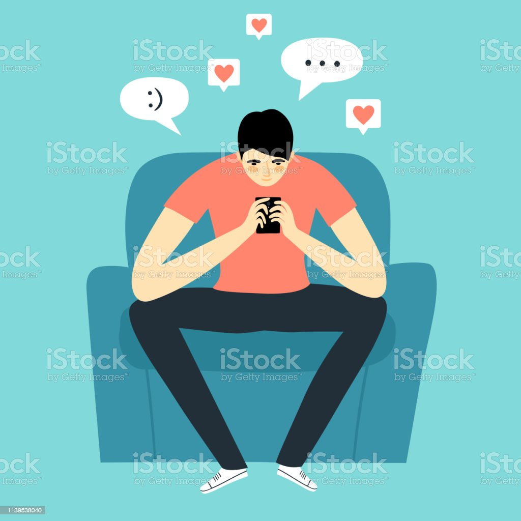 Cartoon man holding smartphone and chatting. vector art illustration