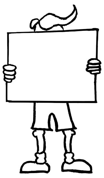 Cartoon man holding white blank protest board or banner vector art illustration