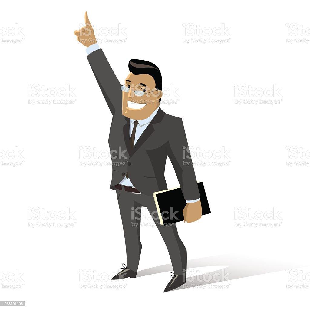 カットイラスト男性のビジネススーツをフォルダ 1人のベクターアート