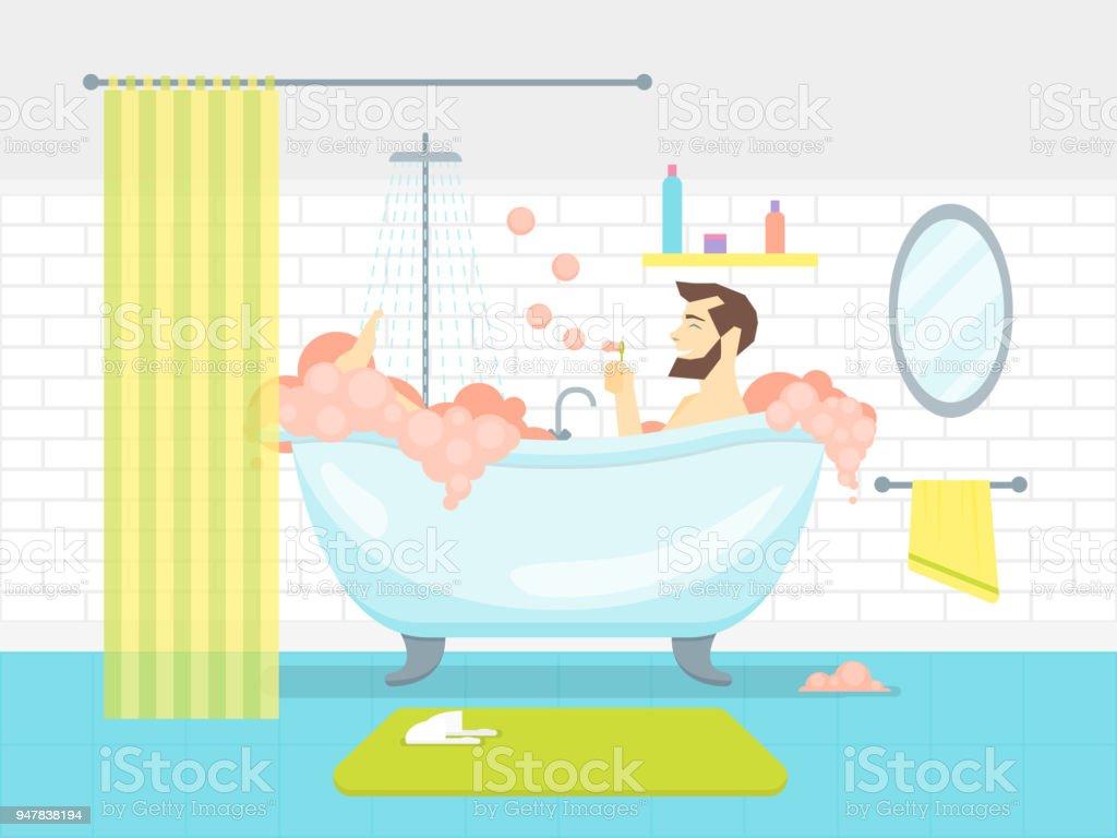 Cartoon Mann In Bad Badewanne Mit Schaum Karte Poster Vektor Stock Vektor  Art und mehr Bilder von Ausrüstung und Geräte
