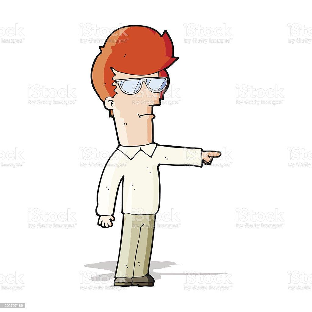 Homme en dessin anim pointant du doigt avec des lunettes - Dessin de doigt ...