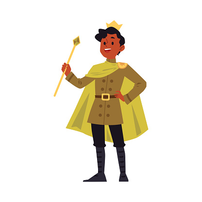 Cartoon man in king costume and gold royal crown holding a sceptre