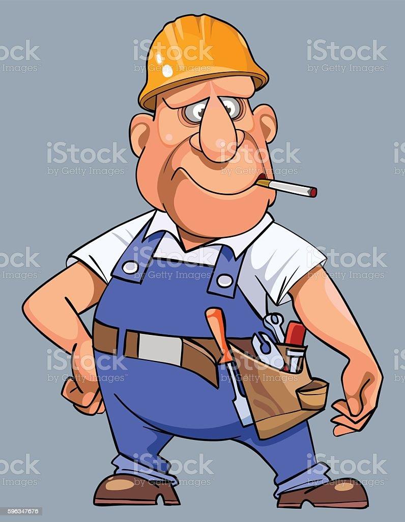 cartoon man in overalls with tools and helmet royalty-free cartoon man in overalls with tools and helmet stock vector art & more images of belt