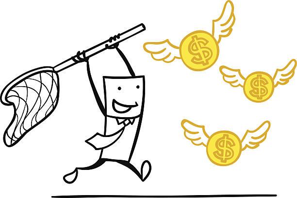 ilustrações de stock, clip art, desenhos animados e ícones de homem s'apanhar o seu dinheiro - enjoying wealthy life